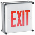 Wet Location Red LED Battery BackUp Exit Sign