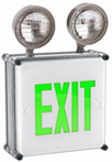 Wet Location Green LED Exit Sign/Emergency Light