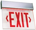 Aluminum Edge-Lit Red LED w/ Battery Exit Sign