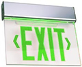 Aluminum Edge-Lit Green LED w/ Battery Exit Sign
