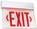 White Edge-Lit Red LED Battery Backup Exit Sign