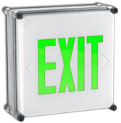Wet Location Green LED Battery BackUp Exit Sign